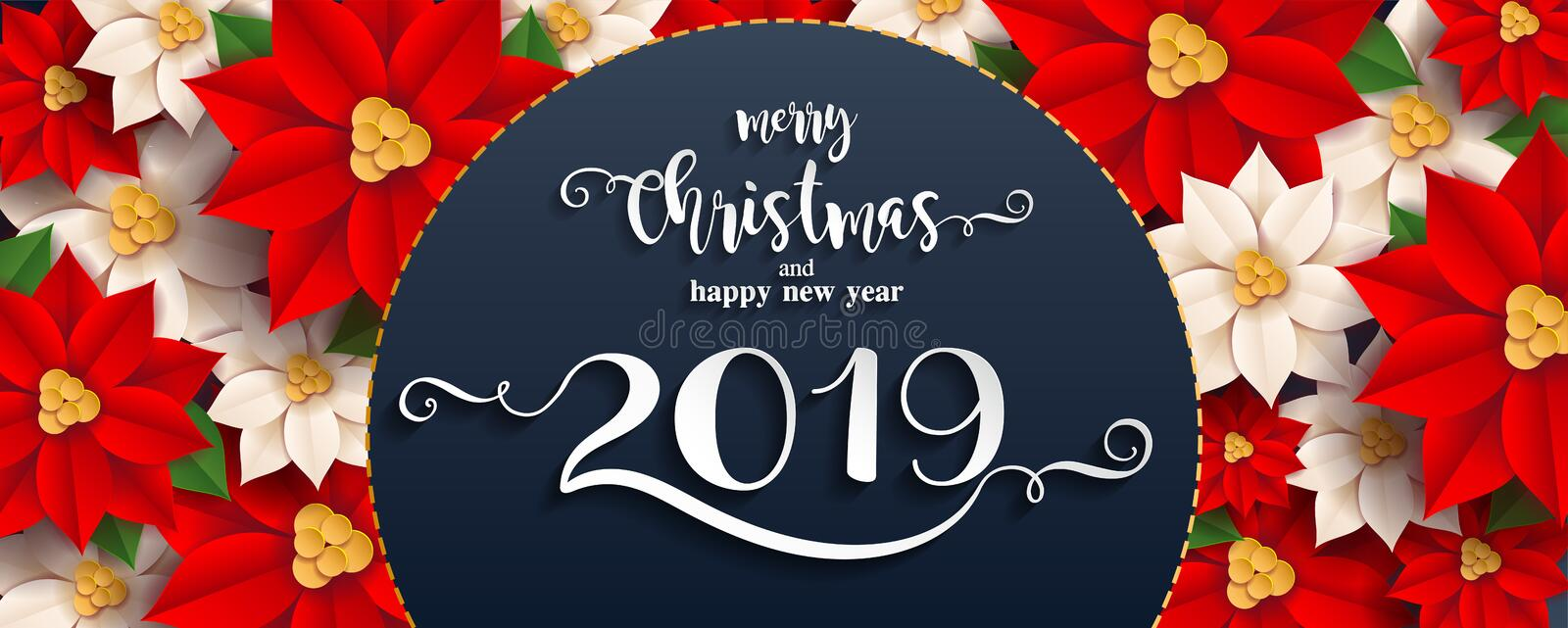 Merry Christmas And Happy New Year 2019. stock illustration