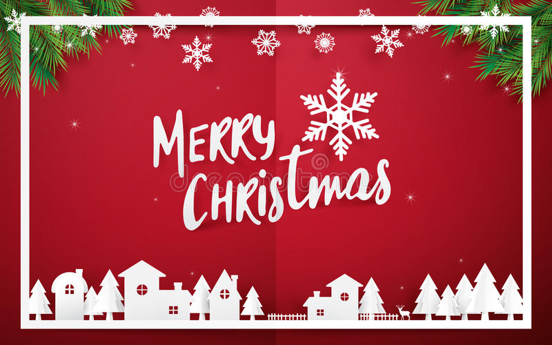 Merry Christmas and Happy new year. Merry Christmas lettering with Christmas trees on red background. Paper art and origami style. stock illustration