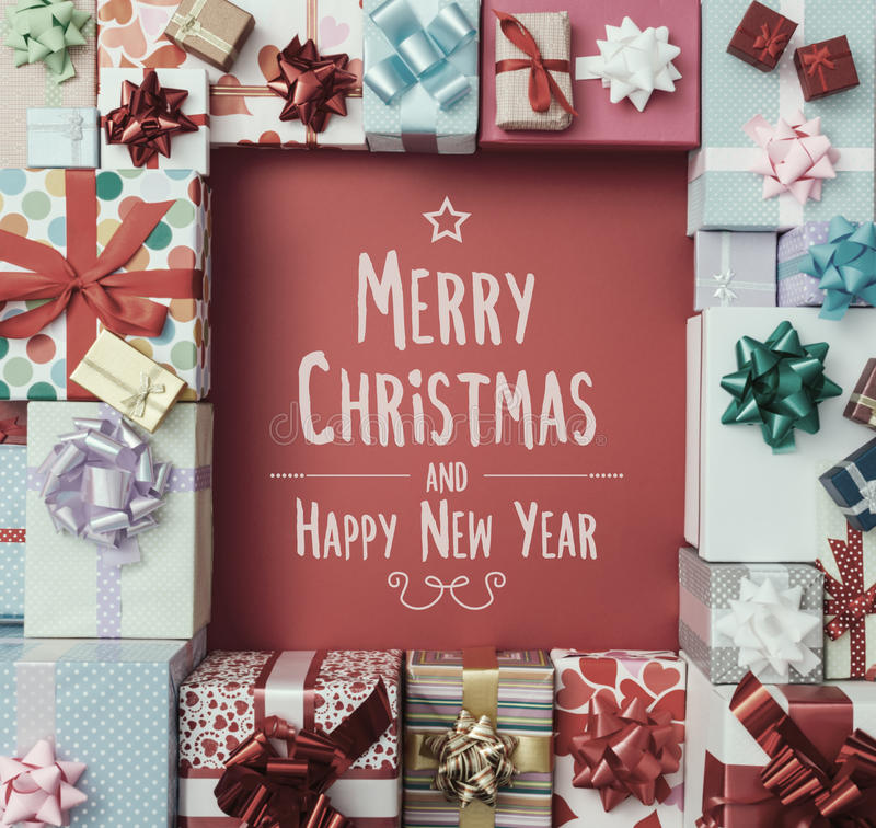 Merry Christmas and Happy New Year message royalty free stock images