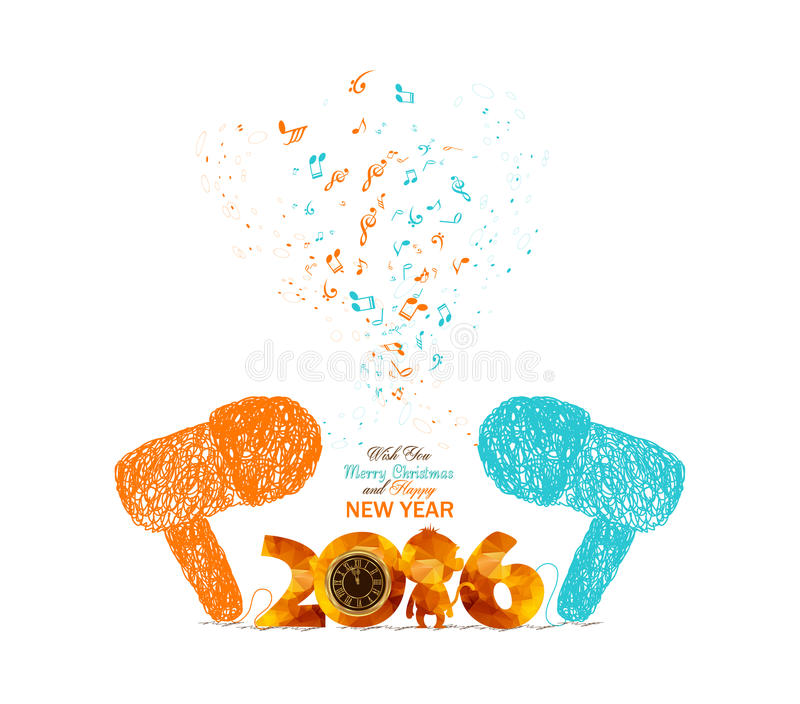 Merry christmas and happy new year musical doodle art colorful vector illustration