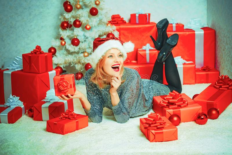 Merry Christmas and Happy New Year. New year gift. Funny Christmas girl. Positive human emotions facial expressions. Merry Christmas and Happy New Year. Funny royalty free stock photos
