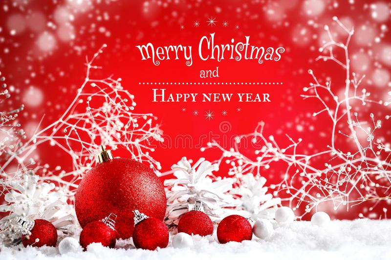 Merry Christmas and Happy New Year. A New Year`s background with New Year decorations, Background with copy space. Merry Christmas and Happy New Year. A New stock images