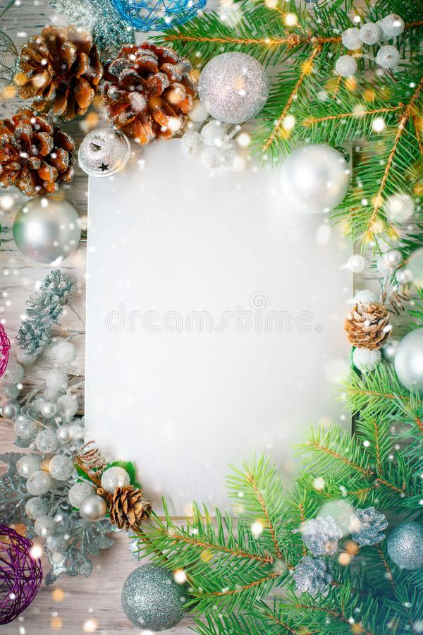 Merry Christmas and Happy New Year. A New Year`s background with New Year decorations.New Year`s card. Merry Christmas and Happy New Year. A New Year`s stock photo