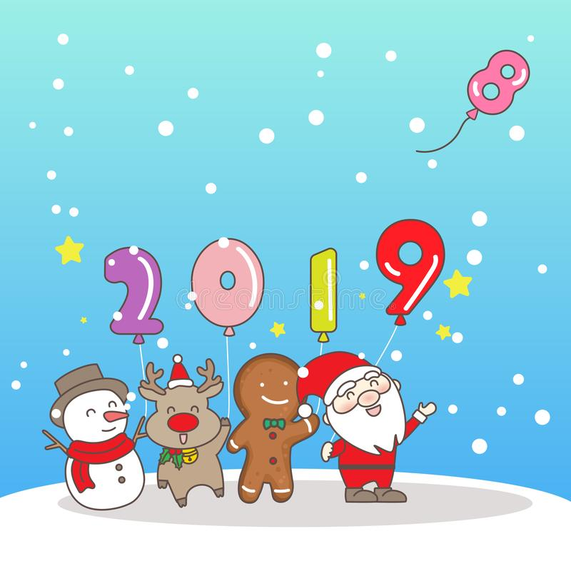Merry Christmas wih 2019 vector illustration