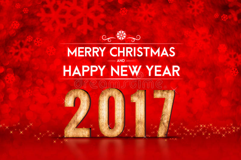 Merry Christmas and Happy new year 2017 number at red sparkling. Bokeh lights,leave space for adding content,holiday greeting card stock photo