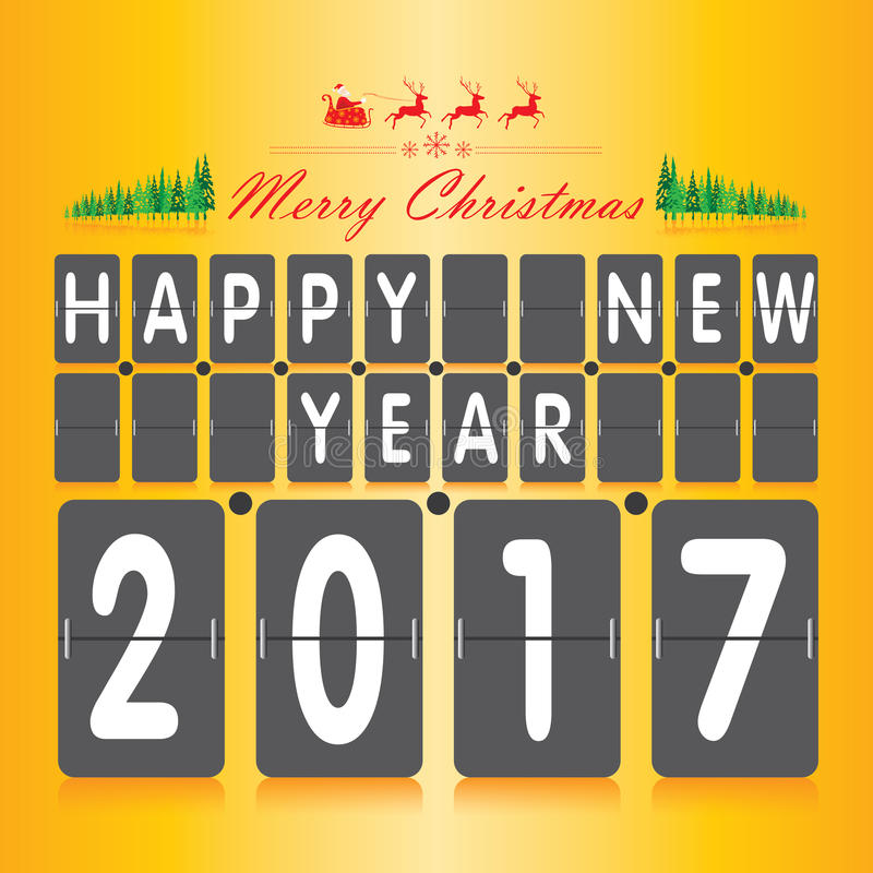 Merry Christmas and Happy New Year Numeric scoreboard set. Christmas tree and Santa Claus on orange background. vector illustration