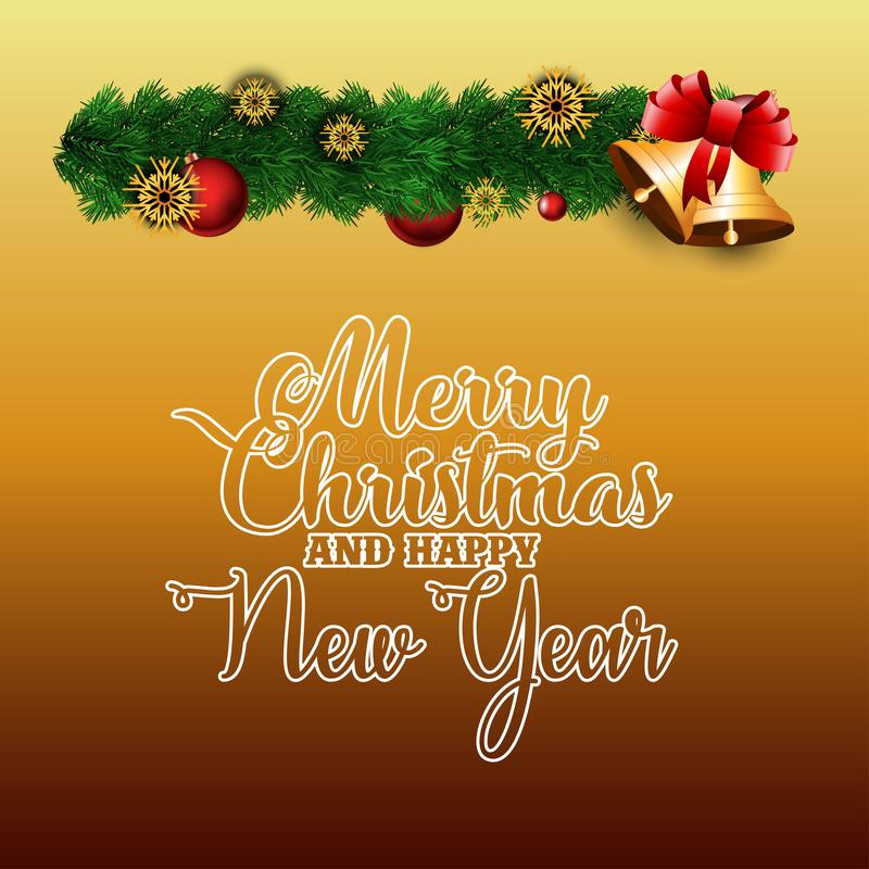 Merry Christmas and Happy New year orange background stock illustration
