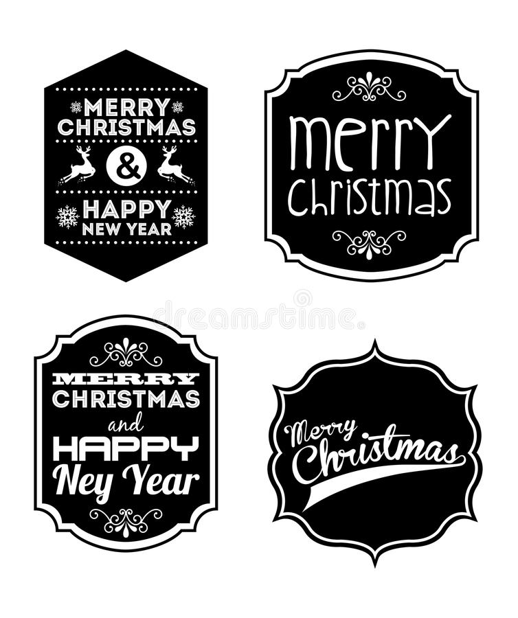 Download Merry Christmas And Happy New Year Stock Vector