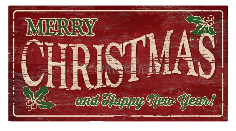 Merry Christmas and Happy New Year Wood Plaque. Merry Christmas and Happy New Year Plaque Homestyle vintage folk art look wood stock images