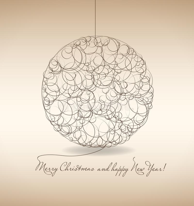 Merry Christmas and Happy New Year. Postcard royalty free illustration