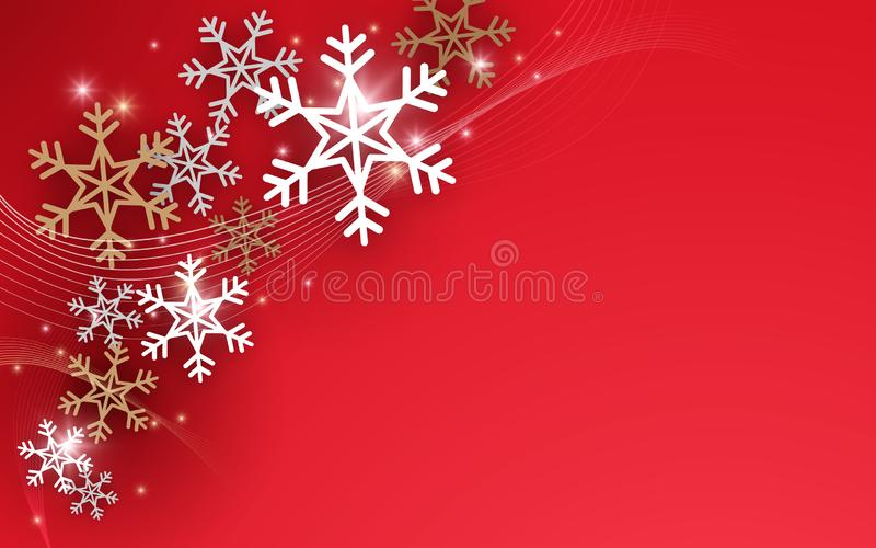 Merry Christmas and Happy New Year postcard. sparkling gold and silver snowflakes background royalty free illustration