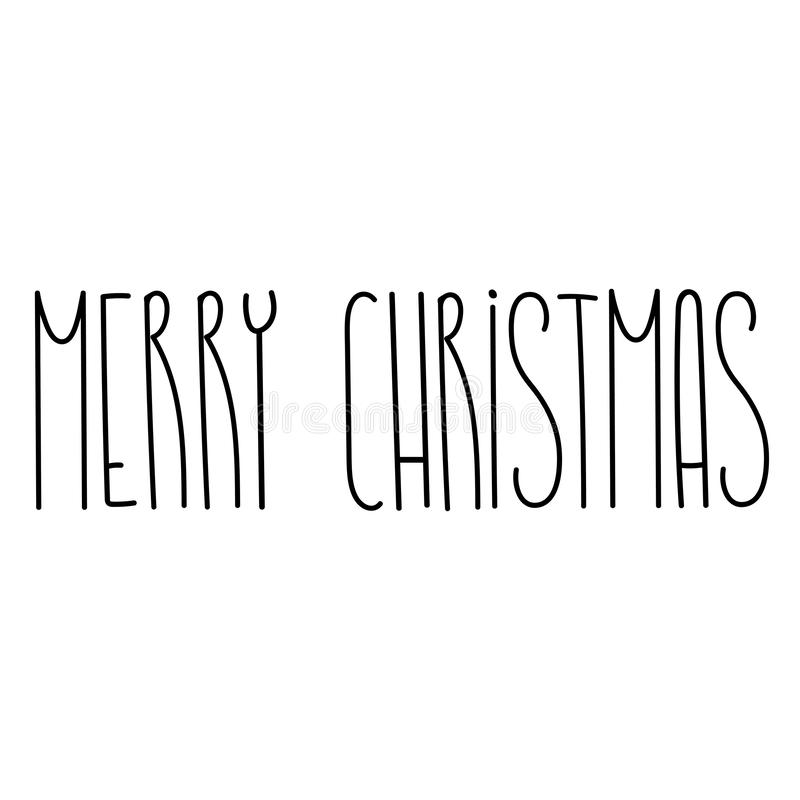 Merry Christmas and happy new year lettering text template royalty free illustration