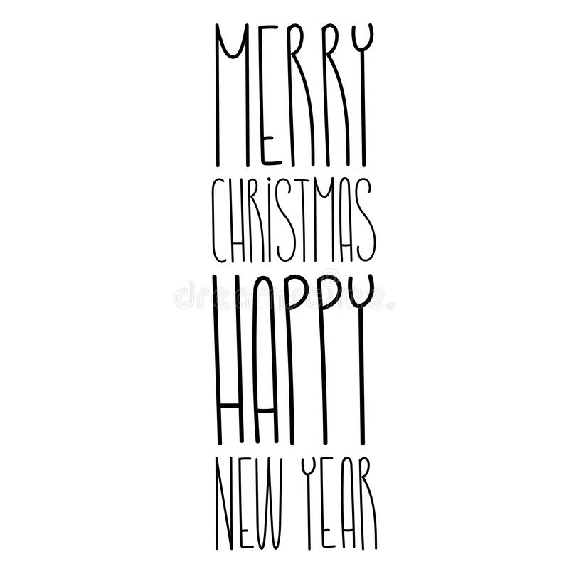Merry Christmas and happy new year lettering text template stock illustration