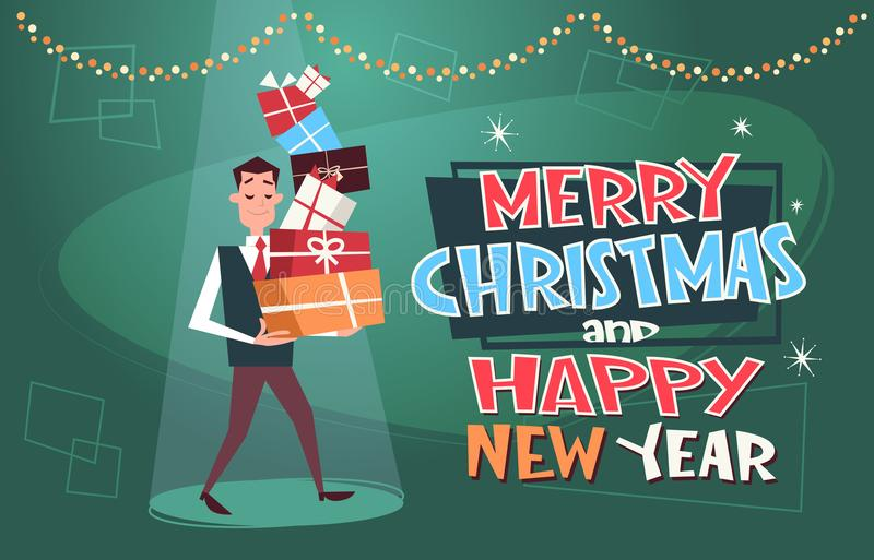 Merry Christmas And Happy New Year Poster With Man Holding Pile Of Gifts On Background vector illustration