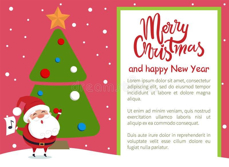 Merry Christmas Happy New Year Poster Santa Tree stock illustration