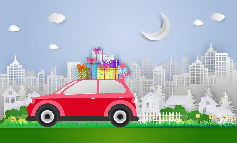 Merry Christmas and Happy New Year. with red car and gift boxes. Paper art and craft style. Vector illustration stock illustration