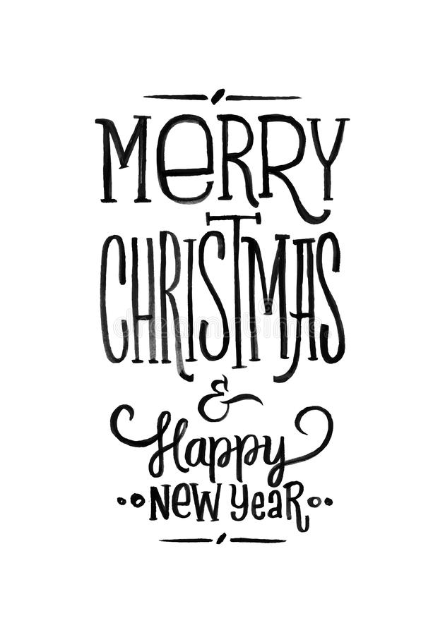 Download Merry Christmas Happy New Year Retro Vector Poster Black And White Monochrome Stock