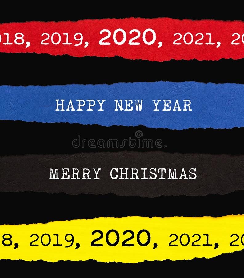 Merry Christmas and Happy New Year 2020 Ripped Paper Background stock illustration