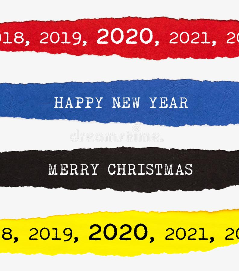 Merry Christmas and Happy New Year 2020 Ripped Paper Background royalty free stock photo