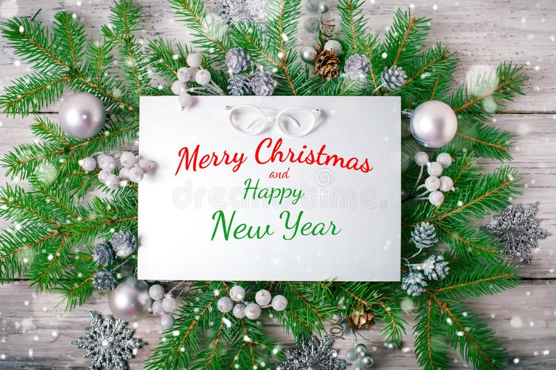 Merry Christmas and Happy New Year. A New Year`s background with New Year decorations.New Year`s card. stock photography