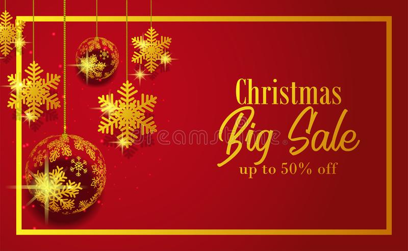 Merry Christmas and happy new year sale banner with red background and illustration of golden snowflake bauble ball stock illustration