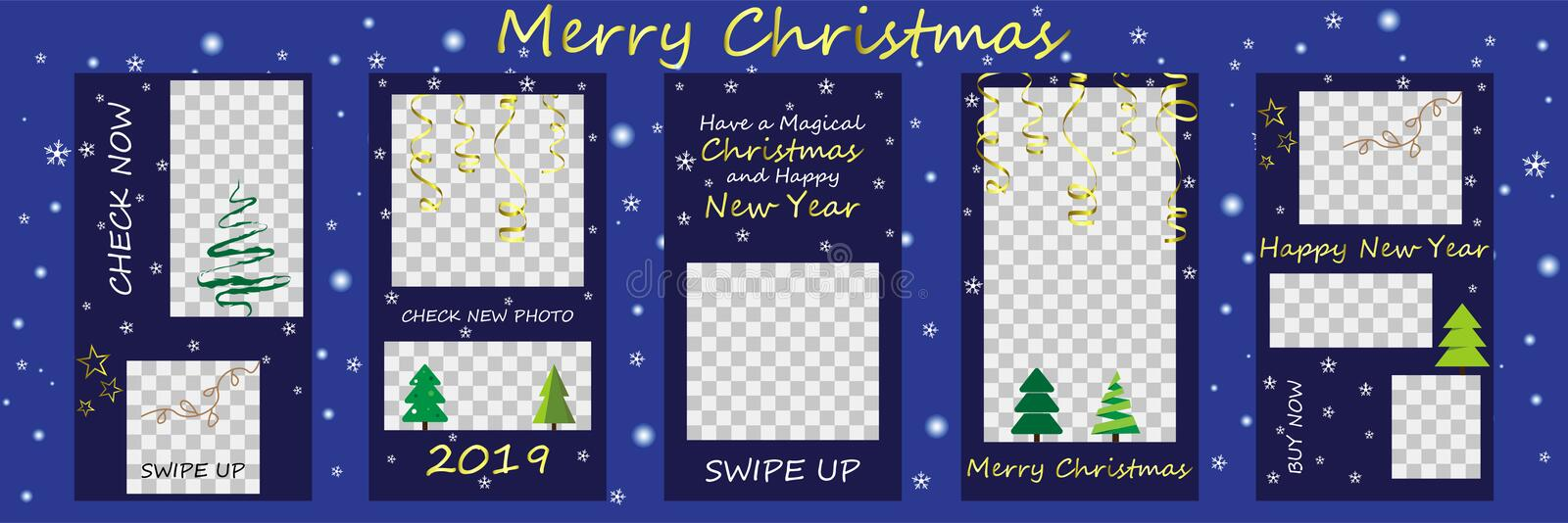 Merry Christmas and Happy New Year Sale, Instagram Stories template. Streaming. vector illustration