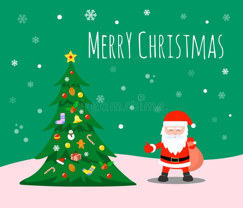 Merry Christmas and Happy new year. Santa Claus and Christmas trees adorn the decorations under the snowflakes. stock illustration