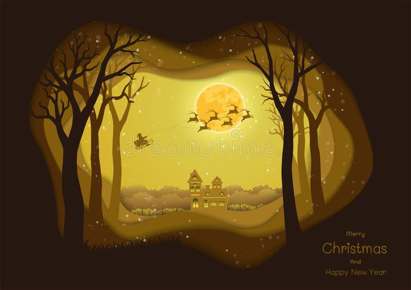 Merry Christmas and Happy new year,Santa Claus coming to city on winter night,paper art silhouette background for greeting card. Or invitation,vector stock illustration