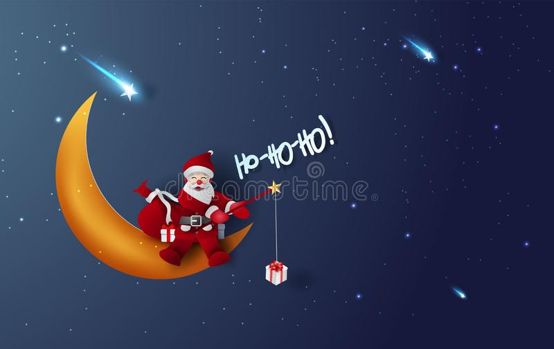 Merry Christmas and Happy new year of Santa claus fishing rod Hold gift box.Half moon and star with Mystical Night sky fantasy stock illustration