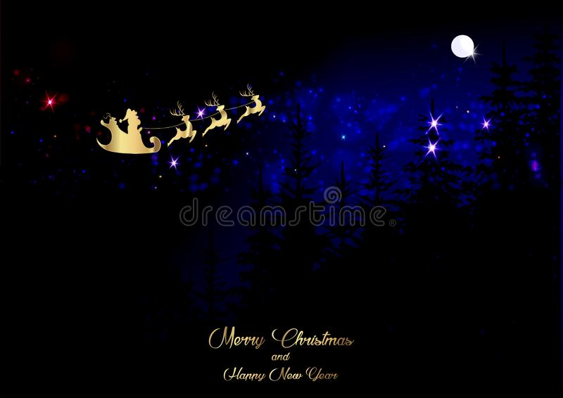Merry Christmas and a Happy New Year, Santa Claus of gold with a reindeer flying, greeting card with shiny stars and full moon stock illustration