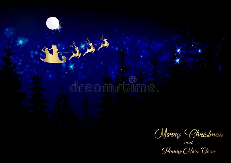 Merry Christmas and a Happy New Year, Santa Claus of gold with a reindeer flying, greeting card with shiny stars and full moon vector illustration