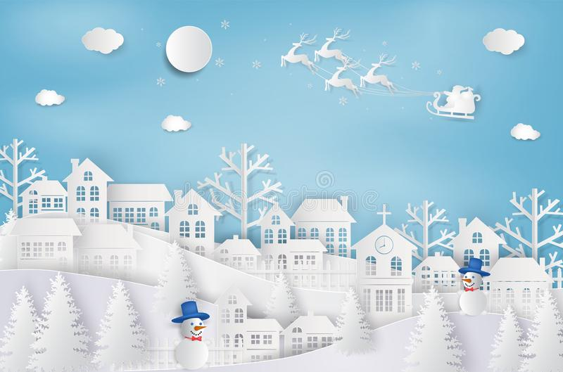 Merry Christmas and Happy New Year. Santa Claus on the sky coming to City. with winter landscape with snowflakes, light, stars. M. Erry Christmas card. paper art royalty free illustration