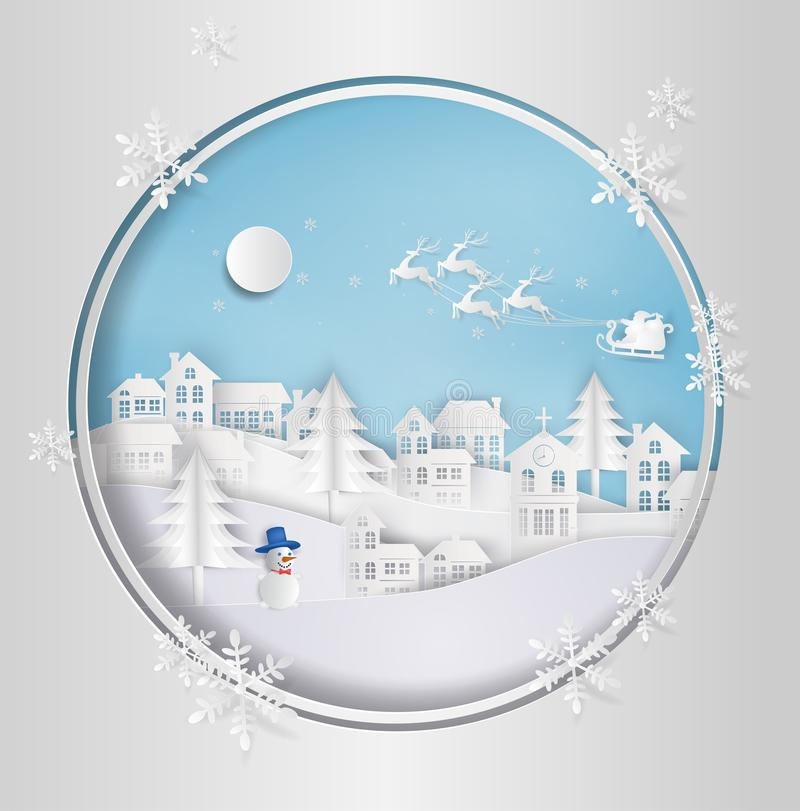 Merry Christmas and Happy New Year. Santa Claus on the sky coming to City. with winter landscape with snowflakes, light, stars. M. Erry Christmas card. paper art vector illustration