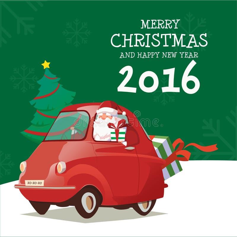 Merry Christmas and Happy New Year Santa Drive Car 2016 stock image