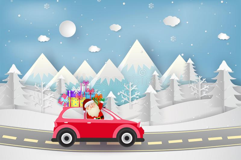 Merry Christmas and Happy New Year. santa with red car and gift. Boxes. paper art and craft style. Vector illustration stock illustration