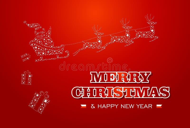 Merry Christmas and Happy New Year Santa stars car royalty free stock photo
