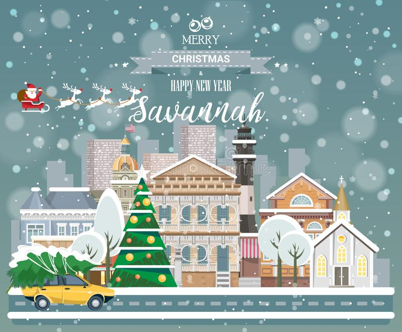 Merry Christmas and Happy New Year in Savannah. Greeting festive card from the USA. Winter snowing city with cute cozy houses stock illustration