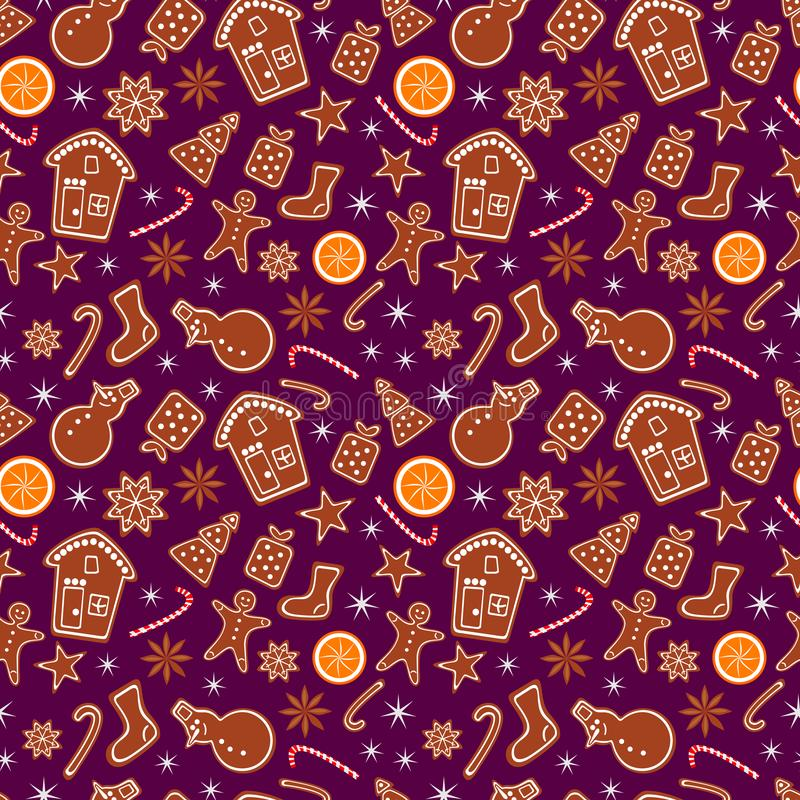 Merry Christmas and Happy New Year seamless pattern with gingerbread cookies, orange and sparkles isolated on lilac background. vector illustration
