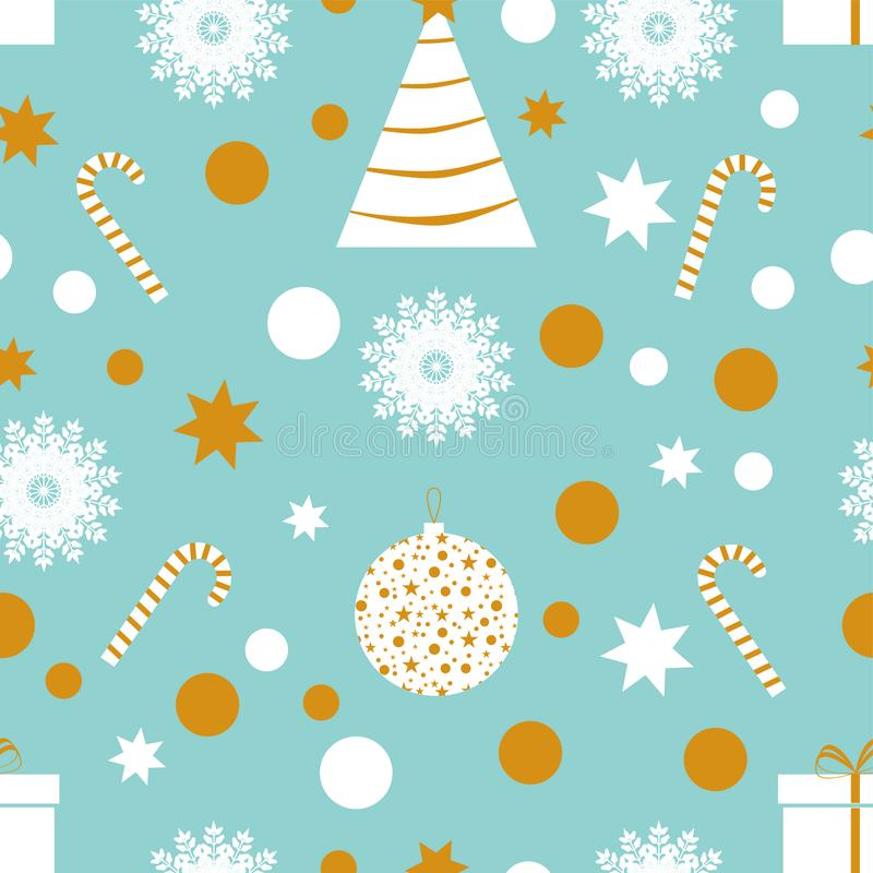 Merry Christmas and Happy New Year. Seamless pattern with Tree, snowflake, sweet, gift, star, toy. Blue background. Winter Holiday wallpaper with decor royalty free illustration