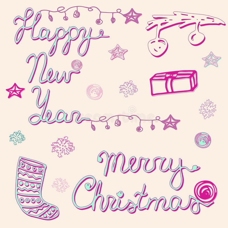 Merry Christmas and Happy New Year set, card. Christmas collection. Merry Christmas and Happy New Year collection. Hand drawn words, tree branch, xmas balls stock illustration