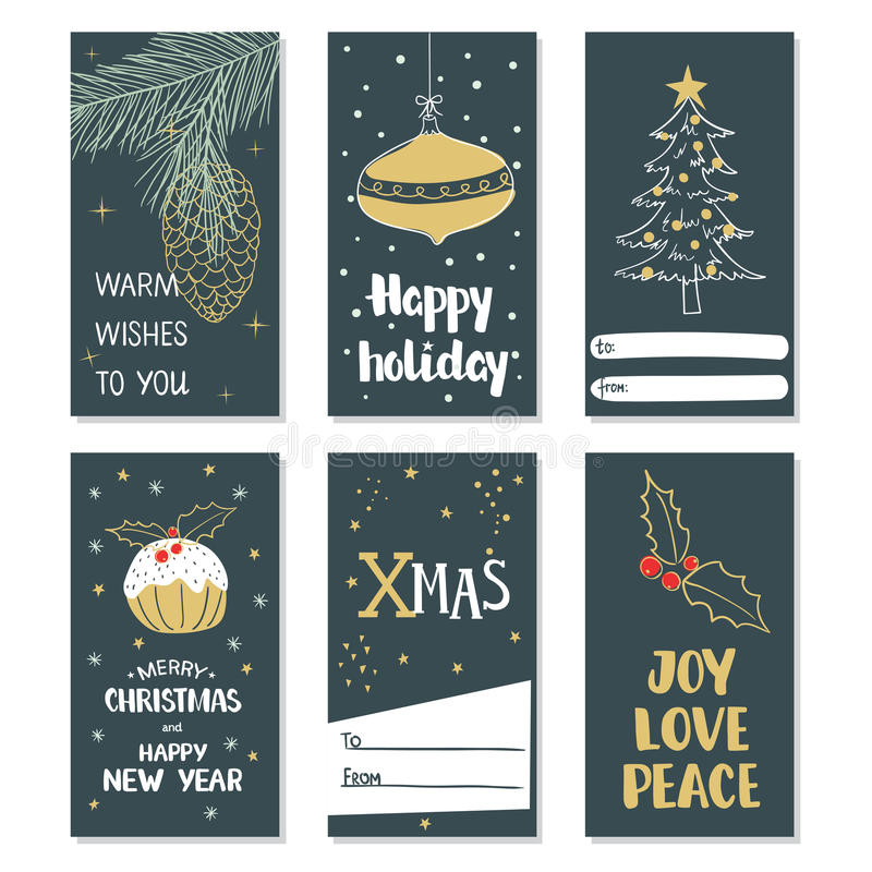 Merry Christmas and Happy New Year. Set of Christmas cards vector illustration