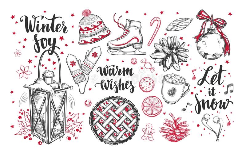Merry Christmas and Happy New Year set. Vector hand drawn winter elements and Modern brushpen Calligraphy. Winter Joy. Let it snow stock illustration