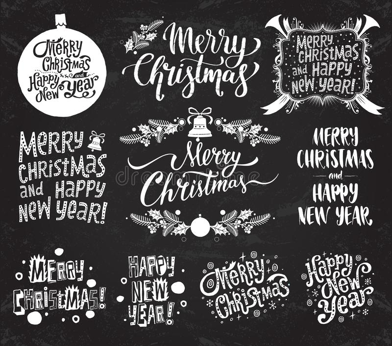 Merry Christmas And Happy New Year. Set of vector retro and vintage calligraphy lettering labels on chalkboard background. stock illustration