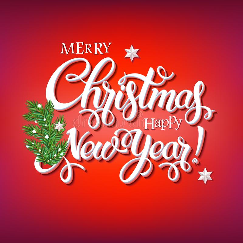 Merry Christmas and Happy New Year 2018 sign stock illustration