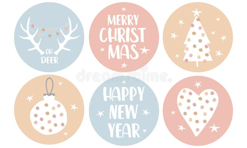 Merry Christmas. Happy New Year. Simple Christmas Round Shape Tags with Heart, Christmas Tree, Bauble and Deer Antles. royalty free illustration