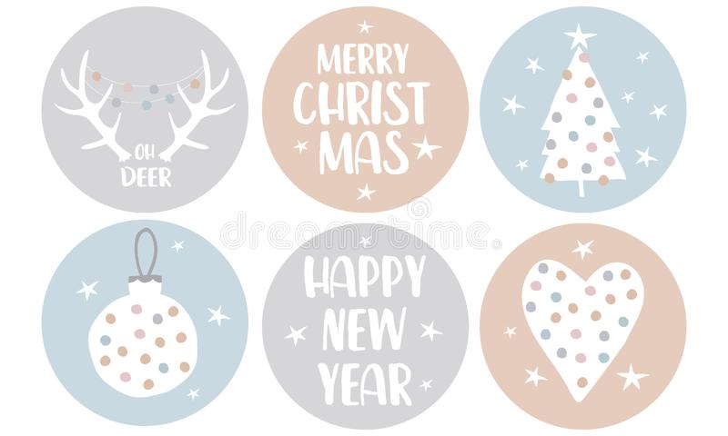 Merry Christmas. Happy New Year. Simple Christmas Round Shape Tags with Heart, Christmas Tree, Bauble and Deer Antles. Cute Vector Stickers with Dotted Bauble stock illustration
