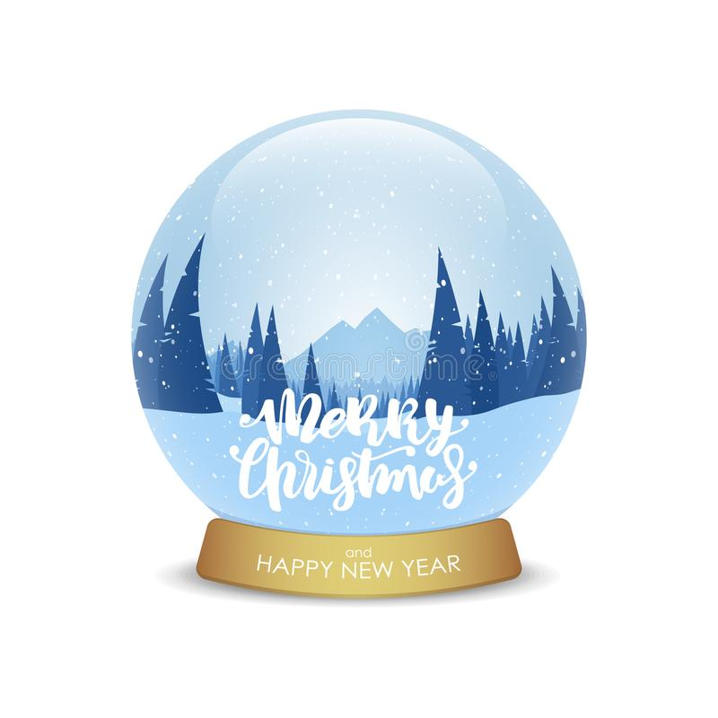 Merry Christmas and Happy New Year. Snow globe with winter mountains landscape isolated on white background. royalty free illustration