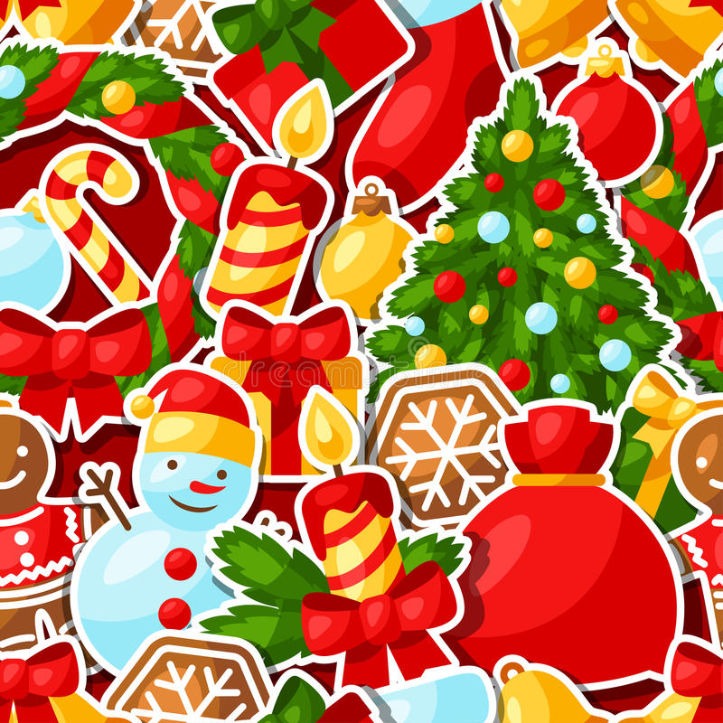 Merry Christmas and Happy New Year sticker. Seamless pattern vector illustration