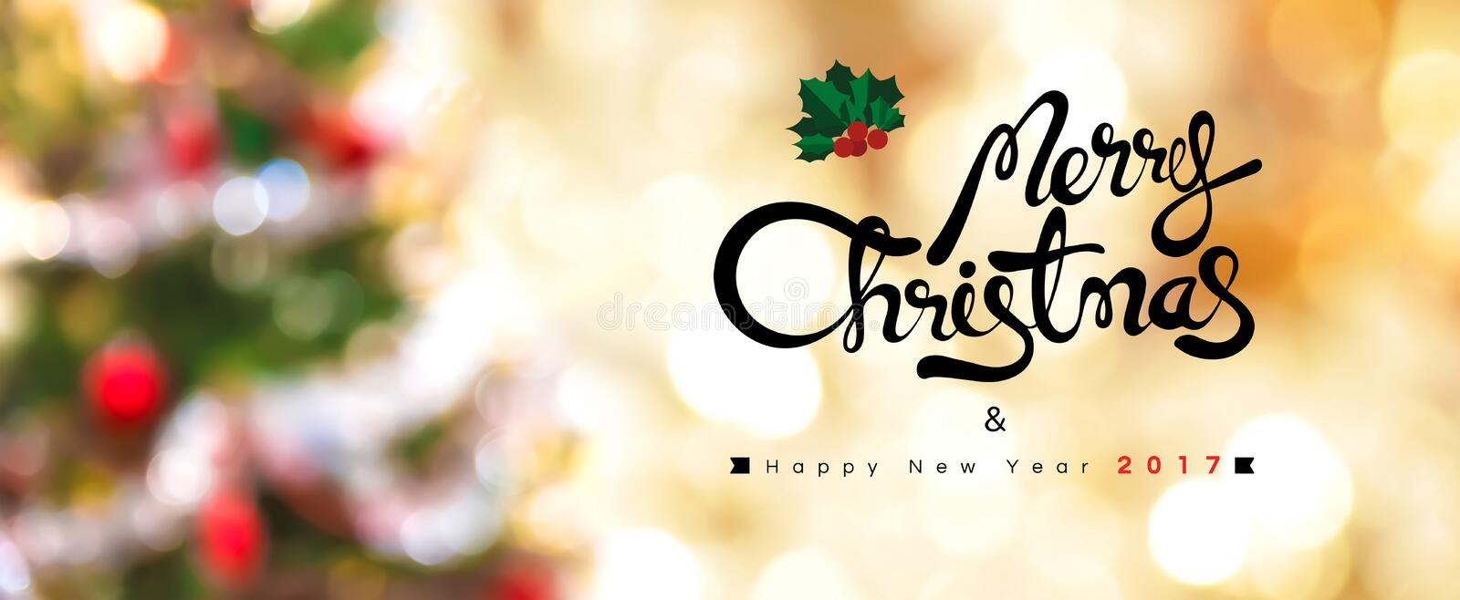 Merry Christmas and Happy New Year 2017 stock photo
