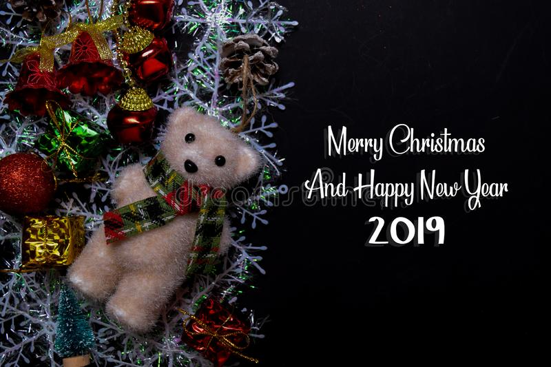 Merry Christmas And Happy New Year 2019 text isolated on black backgroud. Frame of Christmas Decoration royalty free stock photography